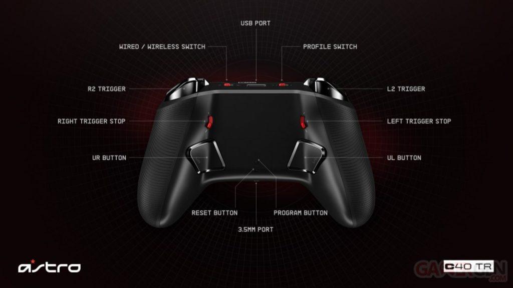 manette C40 TR PS4 de dos